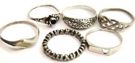 Six 925 silver rings, combined 8.9g. P&P Group 1 (£14+VAT for the first lot and £1+VAT for