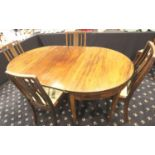 Georgian inlaid dining table with five chairs, Extra leaf with brass fittings mahogany, 185 x 113