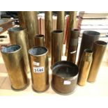 Collection of fourteen inert brass shell cases from various periods. Not available for in-house P&P,