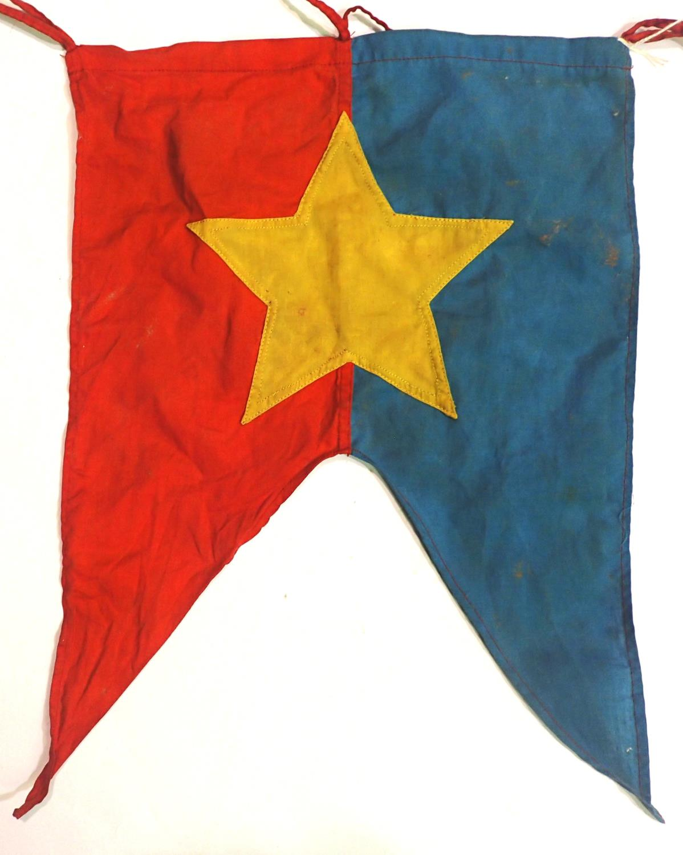 Vietnam War period Vietcong trumpet banner, 43 x 30 cm. P&P Group 1 (£14+VAT for the first lot - Image 2 of 2