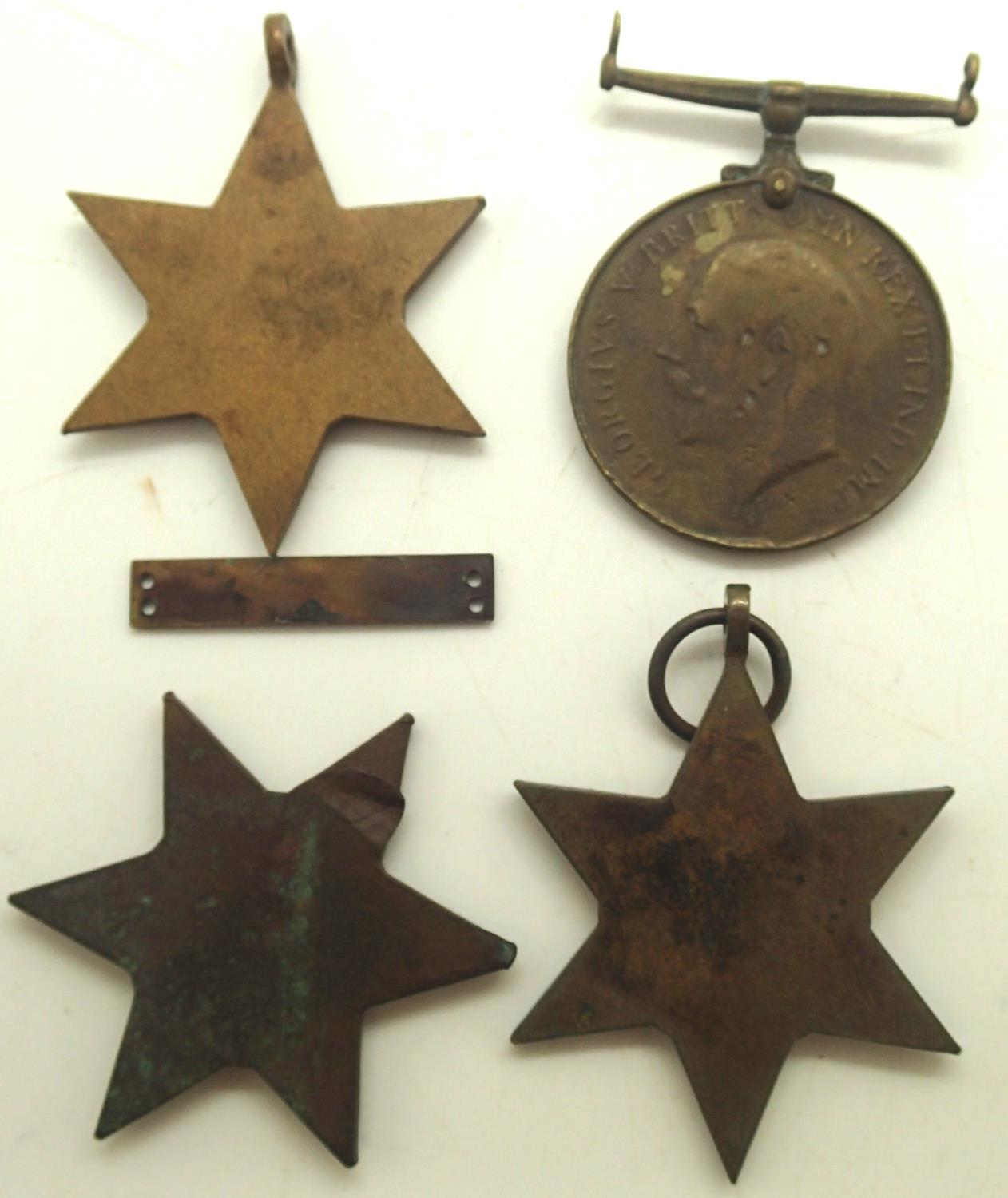 Four British war medals and a bar. P&P Group 1 (£14+VAT for the first lot and £1+VAT for - Image 2 of 2