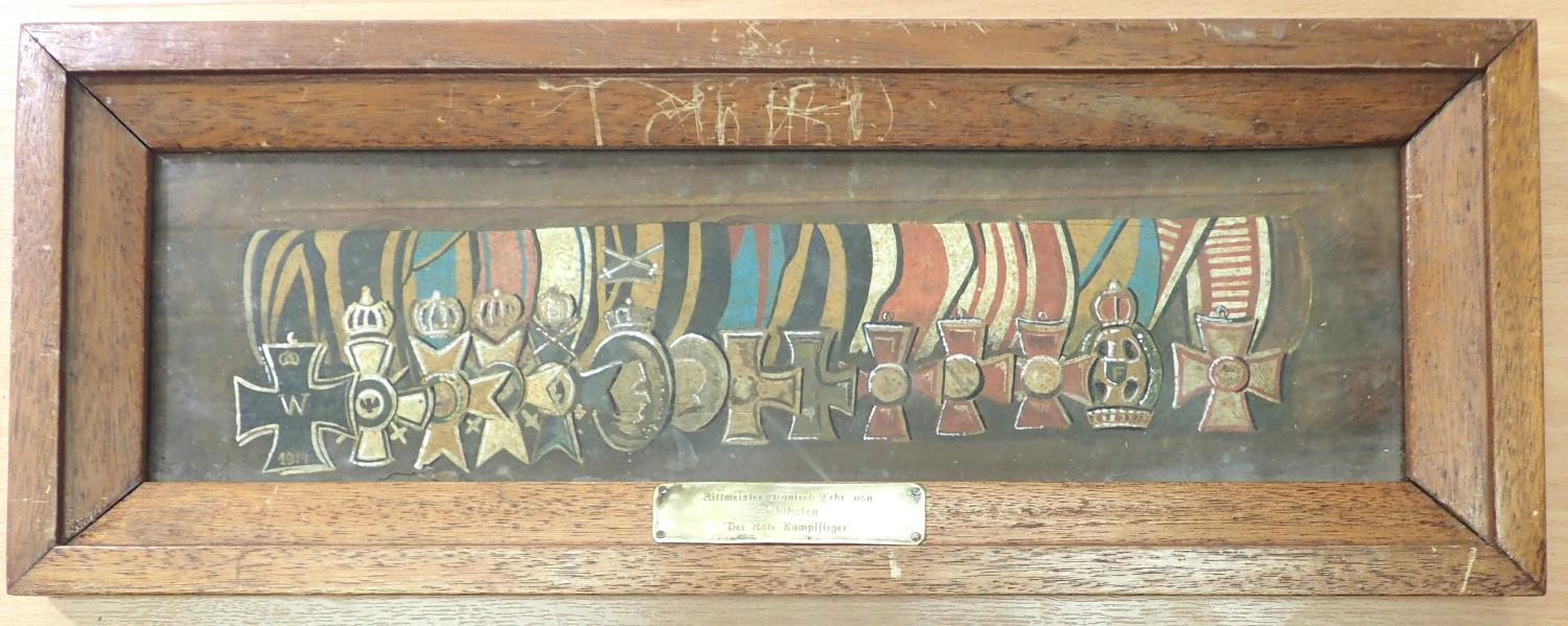 Watercolour on paper, Der Rote Kampfflieger, the medal group of Manfred Von Richthofen, The Red