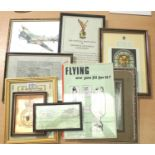 RAF Bomber Command related collection of WWII dated and later framed ephemera including wartime