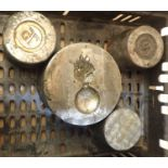 Four helmet plate press dies. Not available for in-house P&P, contact Paul O'Hea at Mailboxes on