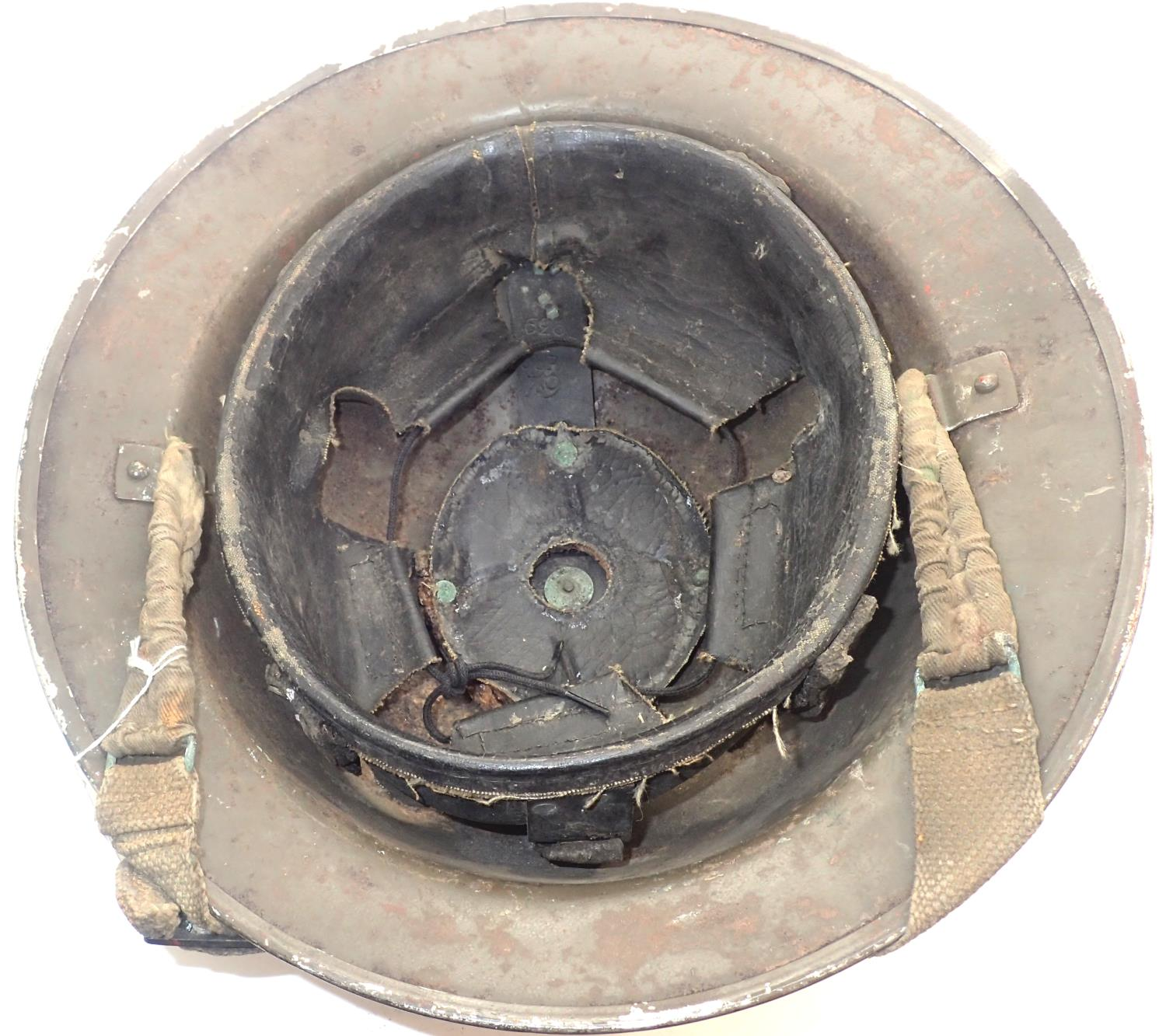 WWII Home Front fire service helmet dated 1939 with leather liner and canvas chinstrap. P&P Group - Image 2 of 2