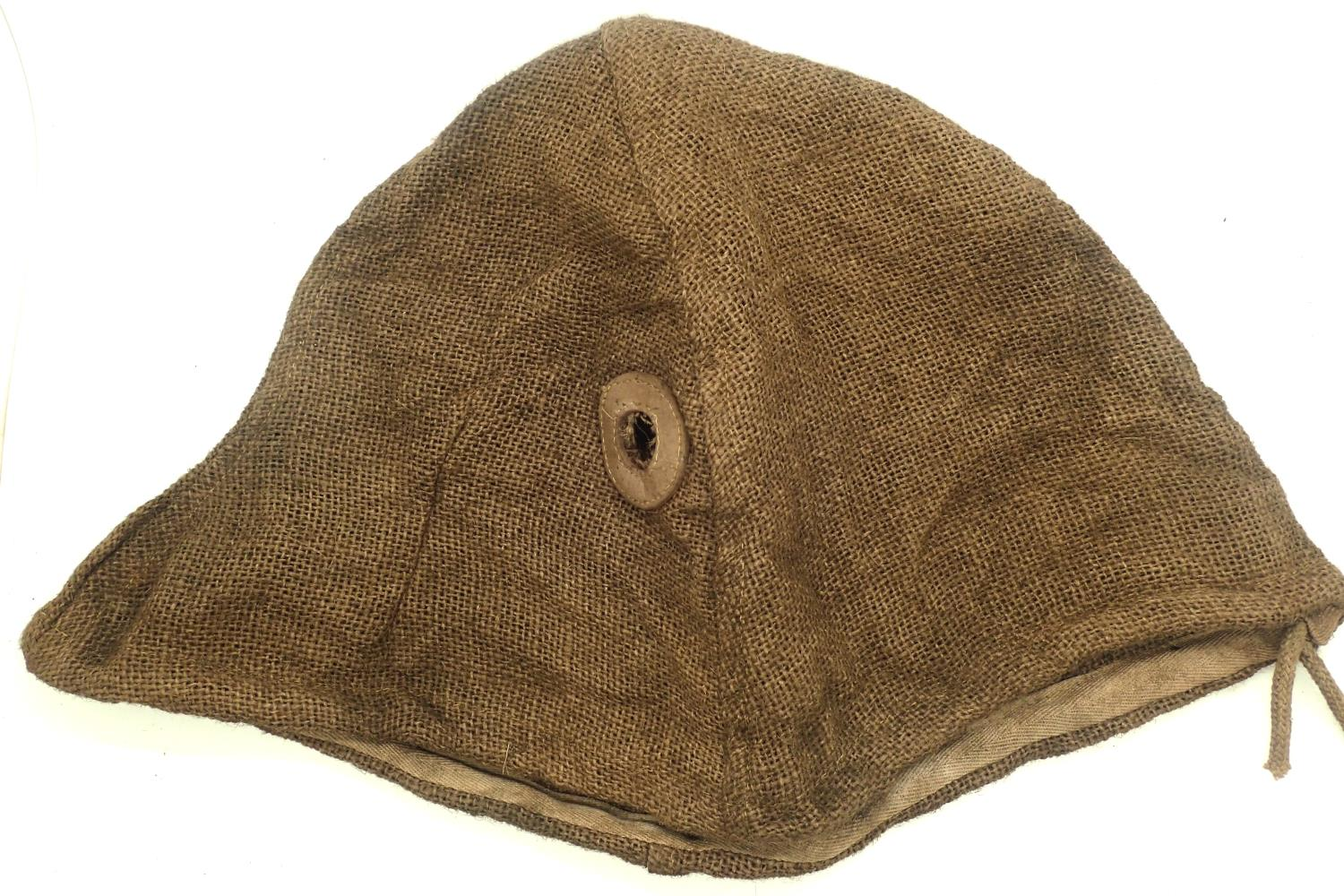 WWI Imperial War M16 Stalhelm hessian helmet cover. P&P Group 1 (£14+VAT for the first lot and £1+