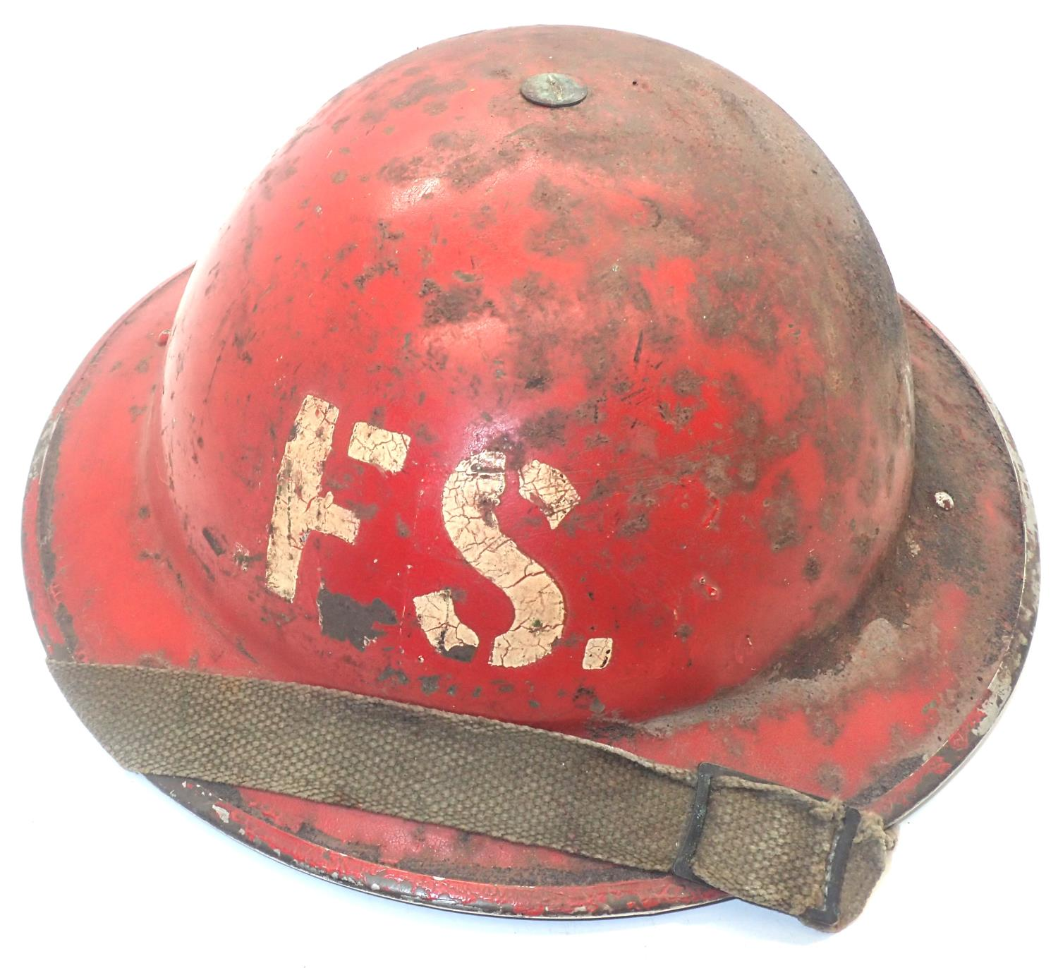 WWII Home Front fire service helmet dated 1939 with leather liner and canvas chinstrap. P&P Group
