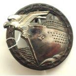 1960s copy Kriegsmarine Blockade Breakers badge, museum quality. P&P Group 1 (£14+VAT for the