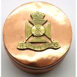 Trench Art; a WWI Wiltshire Regiment badge on a heavy copper pot, D: 70 mm . P&P Group 1 (£14+VAT