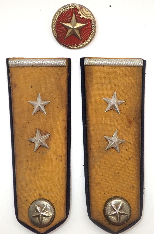 Vietnam War period N.V.A. anti-aircraft unit shoulder boards and helmet badge. P&P Group 1 (£14+