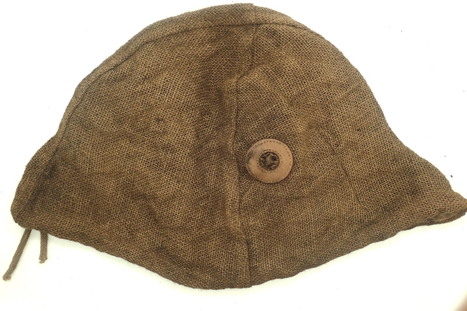 WWI Imperial War M16 Stalhelm hessian helmet cover. P&P Group 1 (£14+VAT for the first lot and £1+ - Image 2 of 2