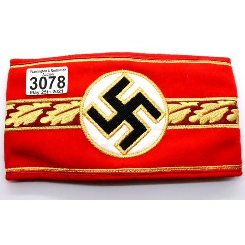 German WWII re-enactment political embroidered wool armband of three piece construction. P&P Group 1