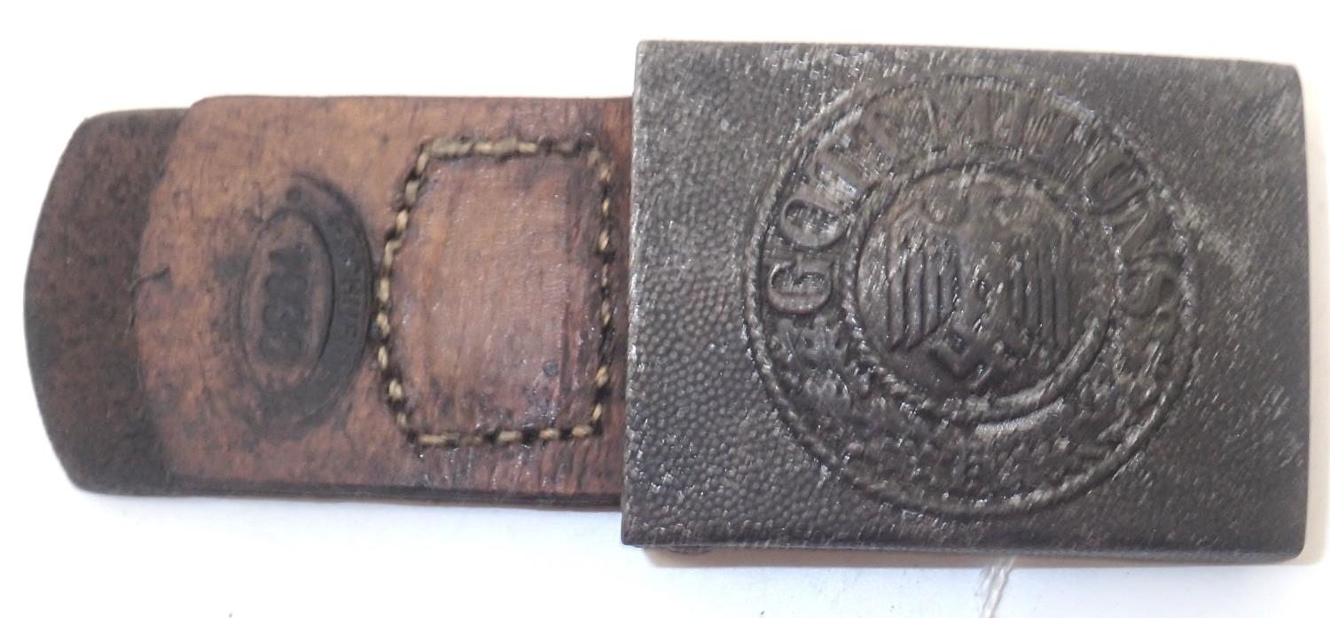 German Army belt buckle maker marked FLH (Friedrich Linden Ludenscheid) with leather tab dated 1938.