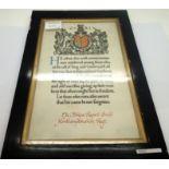 Framed WWI Memorial Scroll to PTE Alwyn Robert Smith Northampton KIA 10-07-1917. P&P Group 2 (£18+