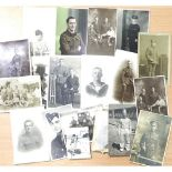 Collection of predominantly WWI military and naval personnel portrait photographs. P&P Group 1 (£