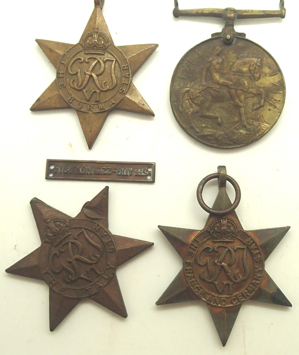Four British war medals and a bar. P&P Group 1 (£14+VAT for the first lot and £1+VAT for