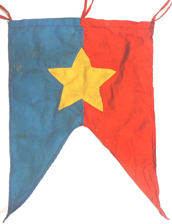 Vietnam War period Vietcong trumpet banner, 43 x 30 cm. P&P Group 1 (£14+VAT for the first lot