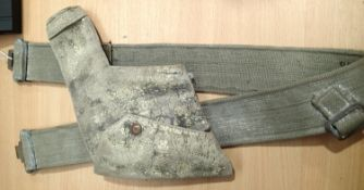 WWII British officers 37 pattern webbing belt and Webley holster. P&P Group 1 (£14+VAT for the first