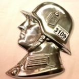 A polished metal SS soldiers side profile, wall or door mounting with threaded holes verso, H: 21