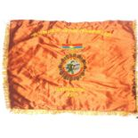 Vietnam War period National Liberation Front Victory banner in embroidered silk with gold fringe,