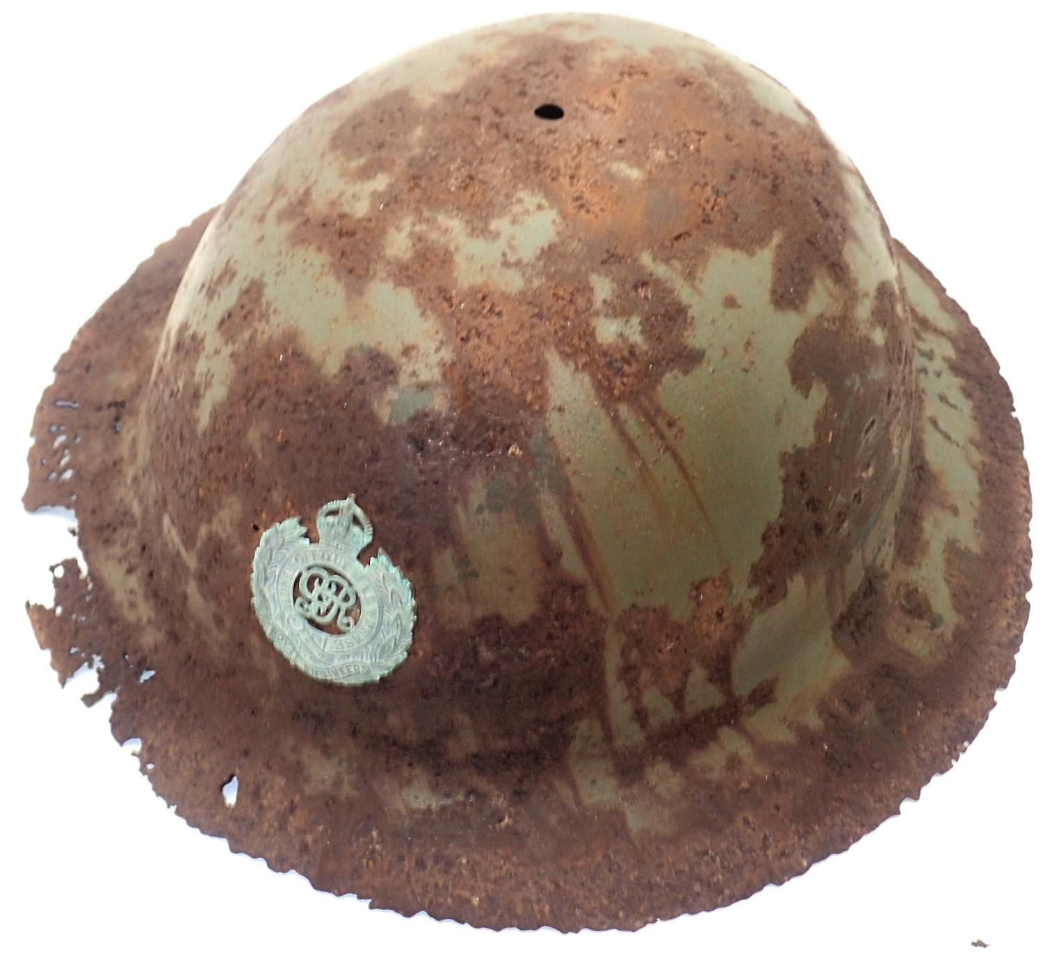 WWI relic Royal Engineers Brodie helmet, reputedly a Somme area barn find. P&P Group 2 (£18+VAT