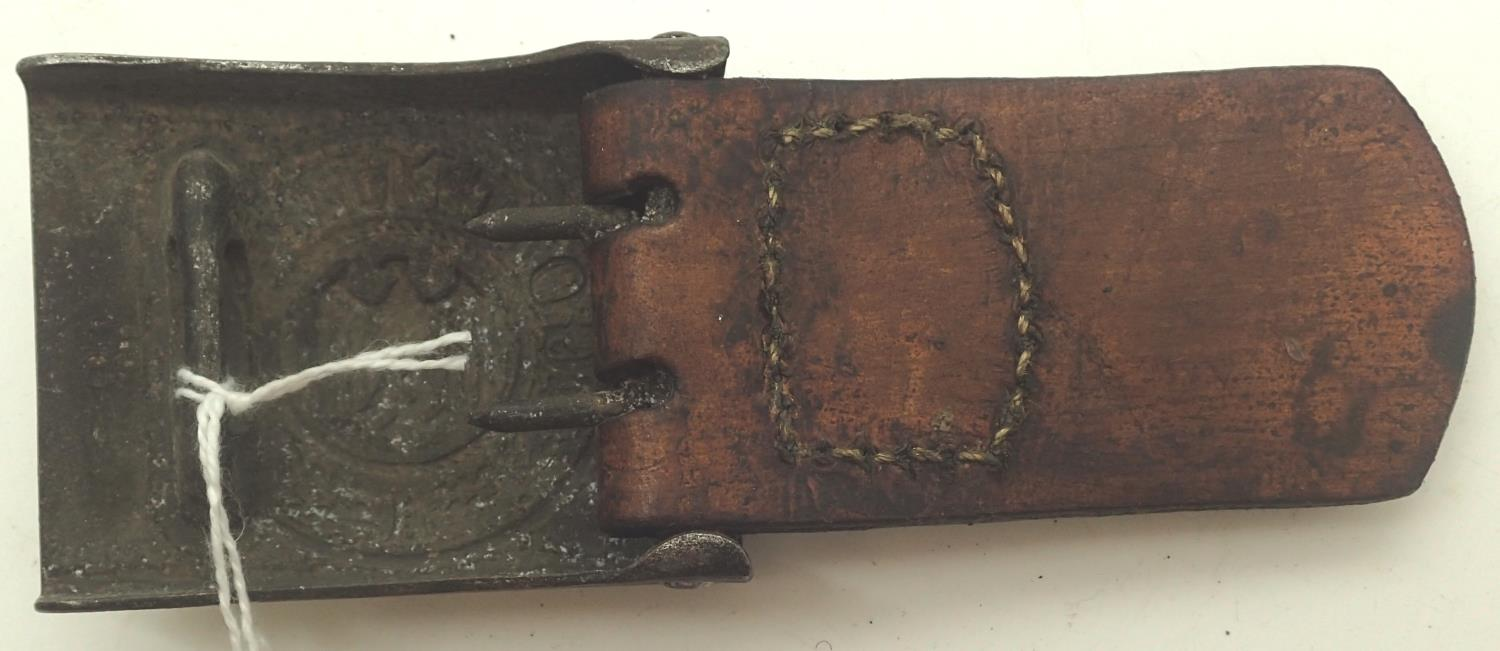 German Army belt buckle maker marked FLH (Friedrich Linden Ludenscheid) with leather tab dated 1938. - Image 2 of 2