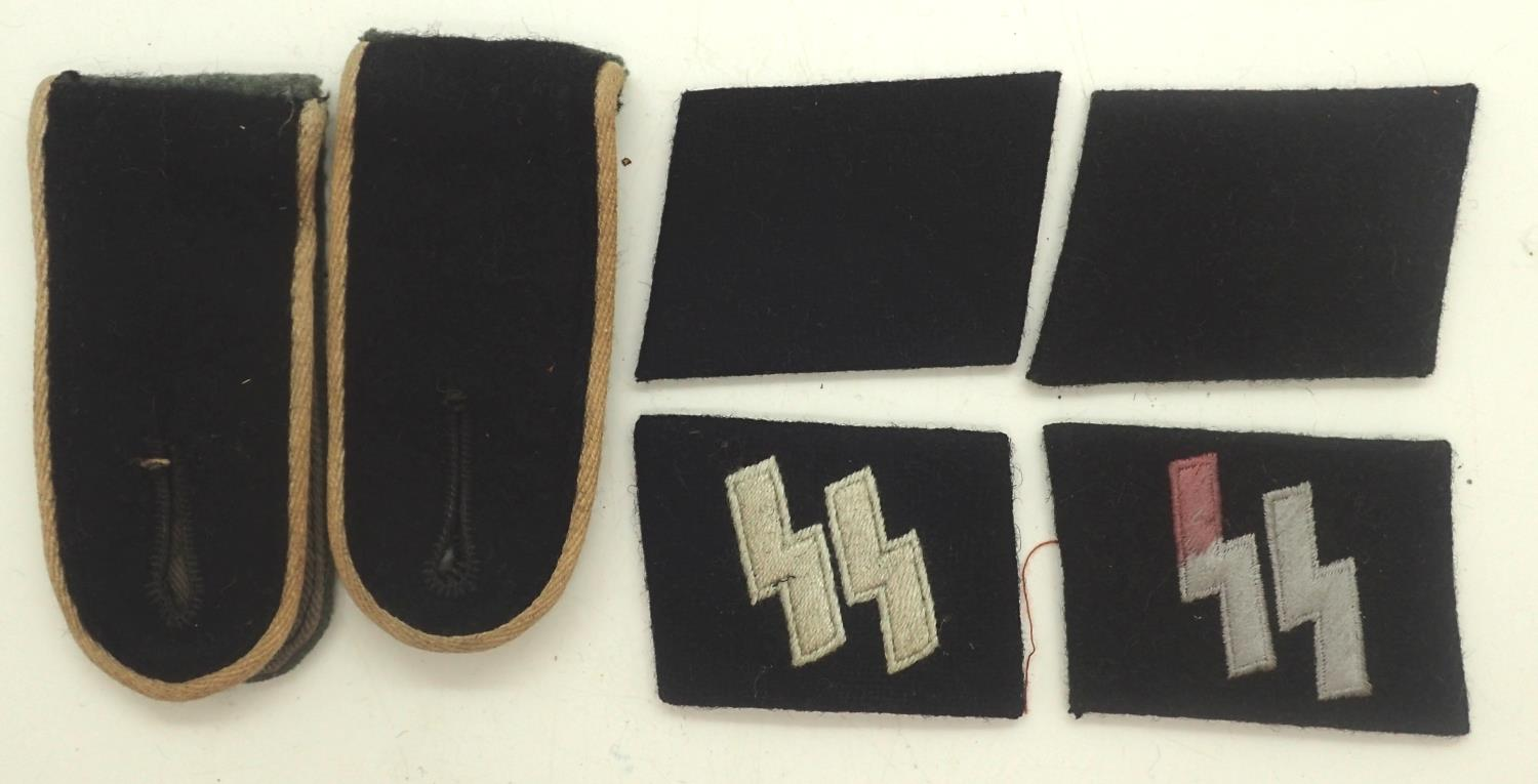 Re-enactors Waffen SS shoulder board and collar tabs. P&P Group 1 (£14+VAT for the first lot and £