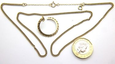 Yellow gold chain and a broken 9ct gold sovereign mount. P&P Group 1 (£14+VAT for the first lot