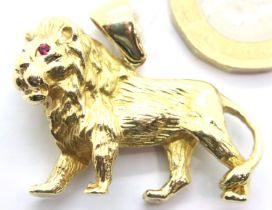 14ct solid gold Lion pendant, fully hallmarked, RRP £1100+, 14.2g. P&P Group 1 (£14+VAT for the