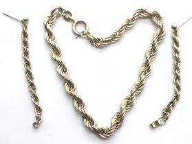 Silver rope bracelet and a matching pair of rope earrings. P&P Group 1 (£14+VAT for the first lot