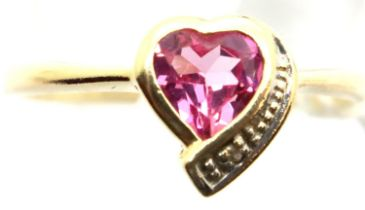 9ct gold heart shaped ring set with pink stones and diamonds, size N/O , 1.5g. P&P Group 1 (£14+