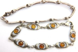 Two silver stone set bracelets. P&P Group 1 (£14+VAT for the first lot and £1+VAT for subsequent
