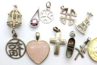 Ten assorted silver charms, including stone set examples, combined 25g. P&P Group 1 (£14+VAT for the