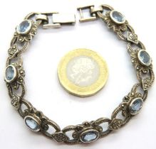 925 silver marcasite and stone set bracelet, 23g. P&P Group 1 (£14+VAT for the first lot and £1+