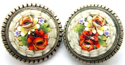 Pair of Micro Mosaic clip on earrings. P&P Group 1 (£14+VAT for the first lot and £1+VAT for