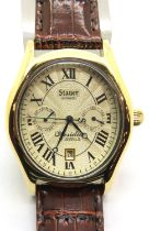 Gents Stauer automatic wristwatch in original box and paperwork, with cream dial in good working