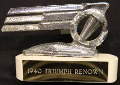 Car bonnet mascot; 1940 Triumph Renown, L: 13 cm. P&P Group 1 (£14+VAT for the first lot and £1+