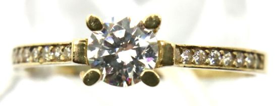 9ct gold solitaire dress ring, size P/Q, 1.3g. P&P Group 1 (£14+VAT for the first lot and £1+VAT for