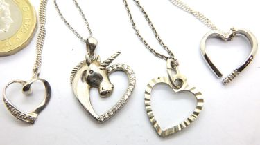 Four silver heart necklaces, two stone set. P&P Group 1 (£14+VAT for the first lot and £1+VAT for