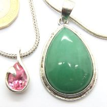 Two stone set pendant necklaces, combined 40g. P&P Group 1 (£14+VAT for the first lot and £1+VAT for