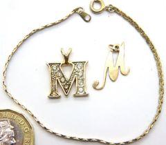 9ct gold letter M pendant, a further stone-set letter M pendant and a bracelet. P&P Group 1 (£14+VAT