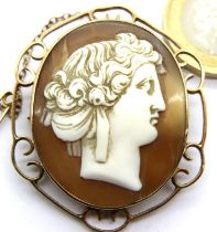 9ct gold mounted Cameo brooch, 45 x 38 mm. P&P Group 1 (£14+VAT for the first lot and £1+VAT for