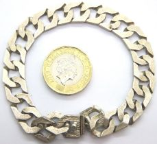 Hallmarked silver bark effect bracelet, L: 20 cm, 25g. P&P Group 1 (£14+VAT for the first lot and £