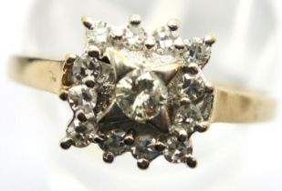 9ct gold diamond set cluster dress ring, size P. P&P Group 1 (£14+VAT for the first lot and £1+VAT