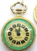 Gold plated Luxa fob watch, D: 2.2 cm, working at lotting. P&P Group 1 (£14+VAT for the first lot