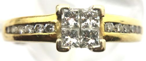 Goldsmiths 18ct gold and diamond four stone diamond ring with diamond shoulders in Goldsmiths box,