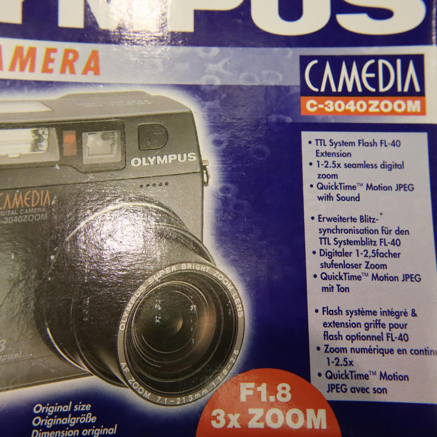 Two new old stock Olympus digital cameras model C3040 zoom. P&P Group 3 (£25+VAT for the first lot - Image 2 of 2