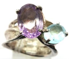 Stone set designer ring, size S, boxed. P&P Group 1 (£14+VAT for the first lot and £1+VAT for