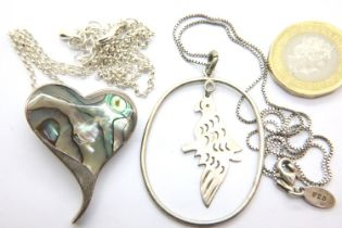 Two silver pendant necklaces, one stone set. P&P Group 1 (£14+VAT for the first lot and £1+VAT for