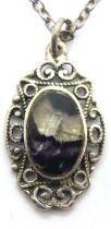 A vintage silver chain with Blue John pendant, chain L: 41 cm, pendant L: 2 cm. P&P Group 1 (£14+VAT